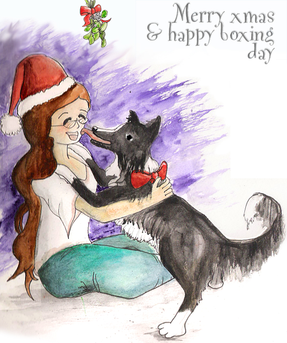 [Trina is sitting cross-legged under some mistletoe, wearing a santa hat, a white shirt with pink trim, and green pants. Ferrari is giving her a big sloppy kiss. Merry xmas & happy boxing day from Daywood Academy.]