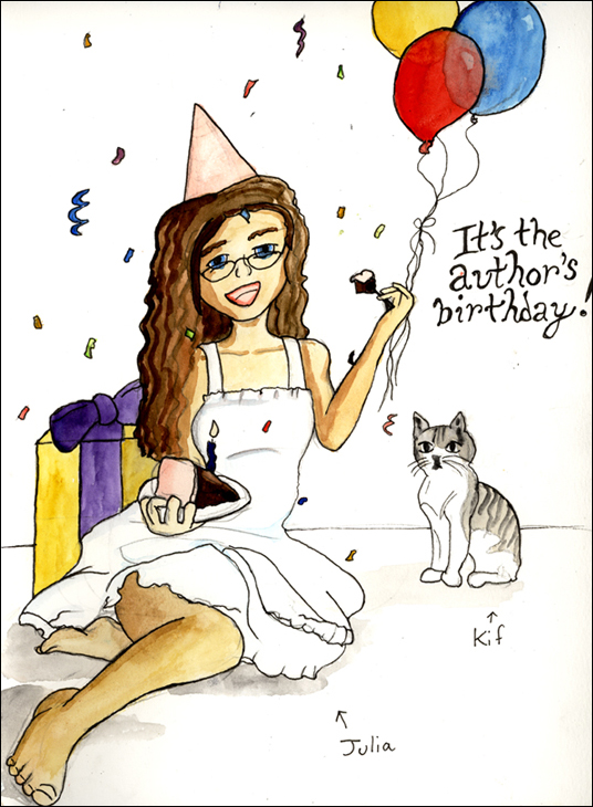 "[""It's the author's birthday!"" Julia sitting on the floor in a white sun dress. She is wearing a pink party hat and holding a cake slice with a burning candle in it with her right hand, and a fork full of cake with her left hand. Presents and balloons are in the background, and confetti is wafting from above. Kif, the tail-less cat, is watching with disinterest.]"